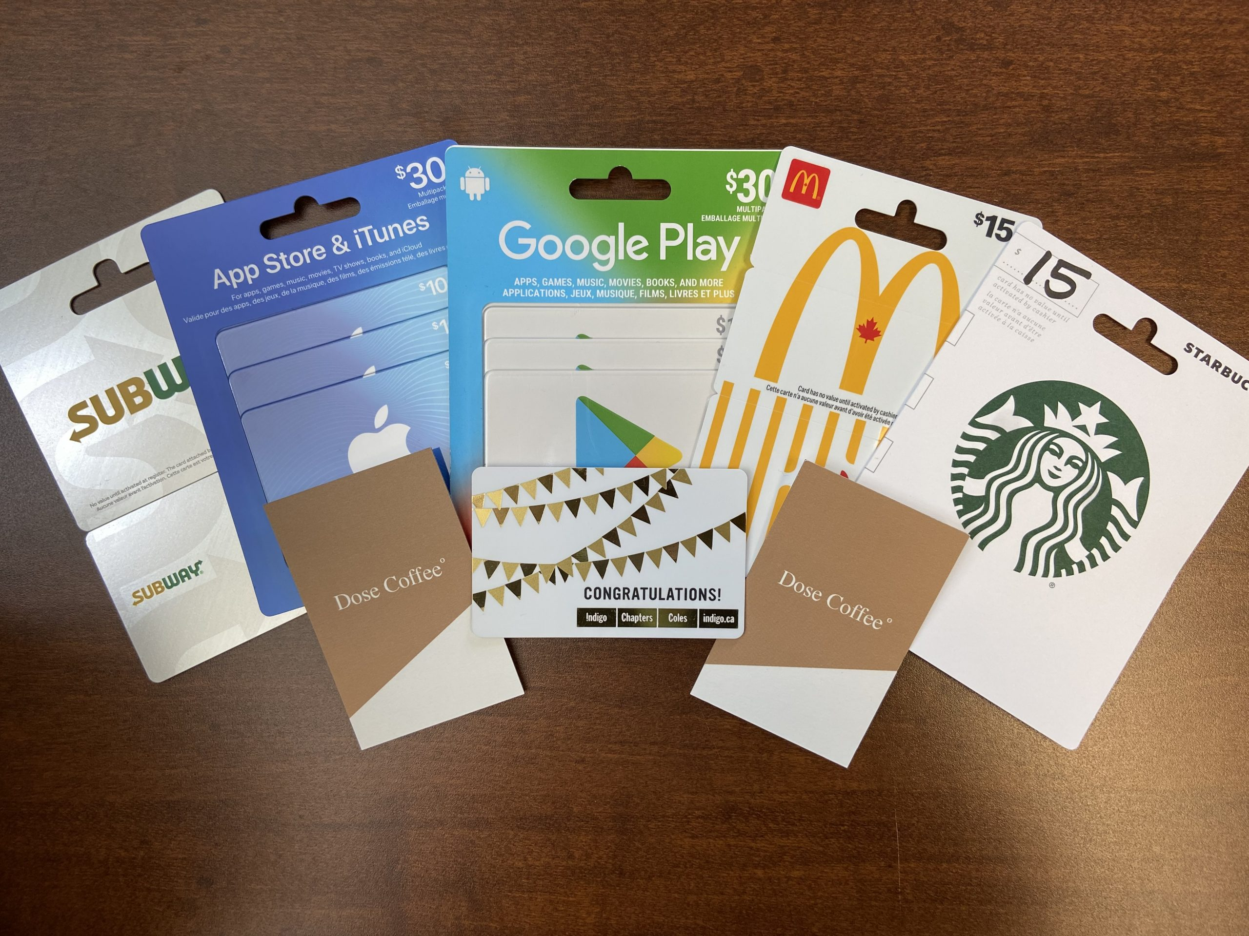 Gift cards for subway, itunes, google play, mcdonalds, starbucks, dose coffee, chapters